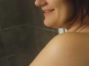 Guy Video's His Girlfriend In The Bathroom Topless