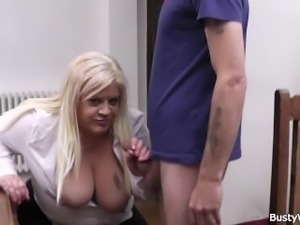Boss fucks busty blonde secretary in stocking