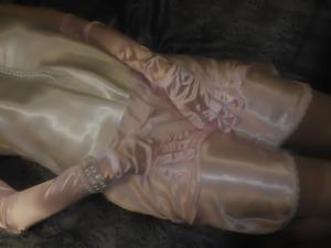 Amazing shiny satin panty sex, satin gloves and nylon
