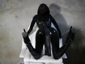 brit latex catsuit model