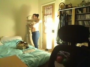 She caught on a hidden camera changing her clothes in the b