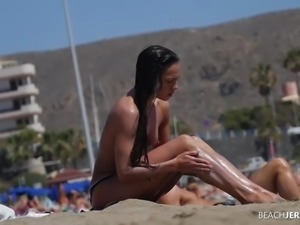 Athletic Tanned Milf on Topless Beach