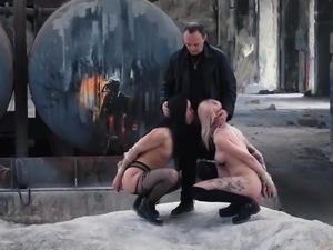 Merciless ass using for sex slaves at the abandoned bdsm factory