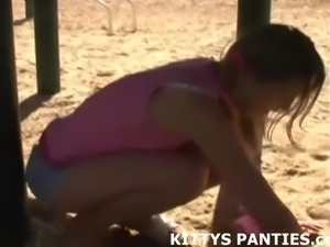 Kitty flashing her panties and solving a puzzle