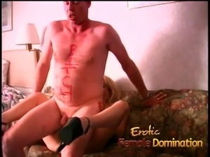 Room service guy dominated by a bossy blonde milf bitch
