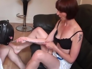 Mature Mistress teaches obedience in slave