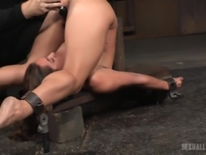 A horny executor uses a kinky vibrator to arouse a naked busty bitch. Then,...