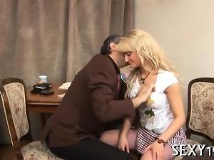 Sweet beauty gets a wild drilling from horny elderly teacher