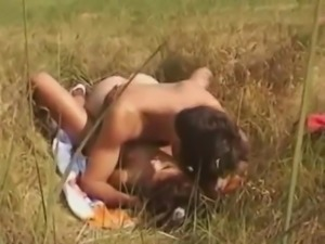 Vintage girl with nice body hairy pussy fucked outdoors