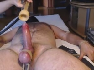VENUS 2000 MILKER #3 me tease and milk hung alpha bear - balls tied
