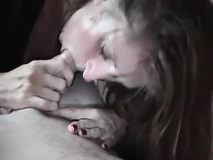 Married nympho worships a long prick and takes a huge facial POV style