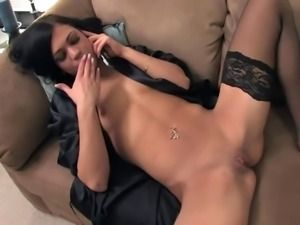 Petite cutie Mandy masturbating on the phone in black thigh high stockings...
