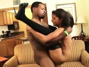 Kinky bimbo gets rammed by a black stud