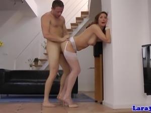 Classy british milf in stockings pussyfucked