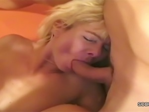Two German MILF Seduce Young Boy to Get Fuck in Threesome
