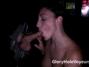 Two Girls Suck Cocks in Gloryhole