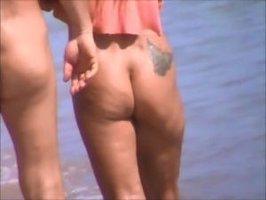 voyeur nude beach playful blonde milf