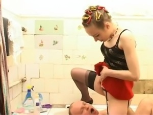 Mistress dominates in the bathroom