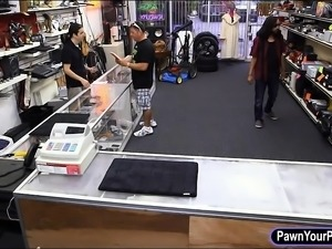 Big boobs babe pawns her gun and screwed by pawn guy