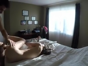 Hot couple has sex on bed