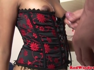 Dutch hooker doggystyled while in corset