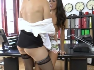 Nicole Evans and Alexa Tomas have hot lesbian sex in the office. Elegant...