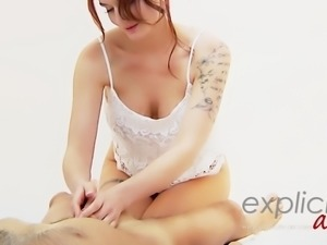 French busty babe Marie Clarence Marlo giving exotic oil mas