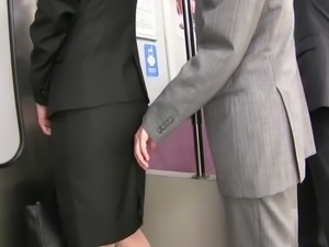 groping tight skirt touch in train
