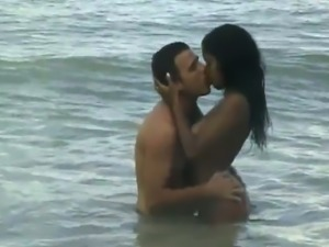 Seductive Brazilian babe getting drilled hardcore on the beach