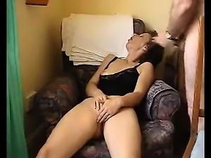 Sexy housewife trapped while masturbating