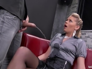 Satin blouse covered in hot piss before he fucks her