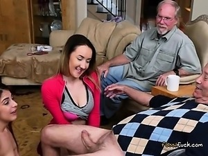 Lascivious Teens Feast On Big Cock Of Old Guy