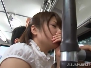 Nanami Kawakam is fingered in a public bus