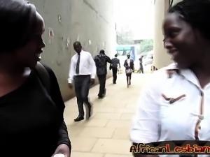 Curvy African lesbians tease each other