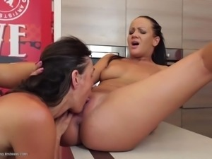 Mature lesbians make love with young girls