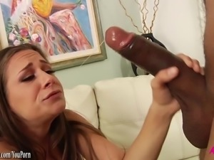 Hot girl gags on huge black cock then gets fucked