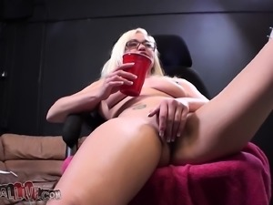 Adorable Whitney Grace gets her honey hole worked out by a hung stud