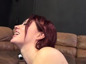 Stacked redhead Jessica Ryan stuffs her hungry peach with a hard dick