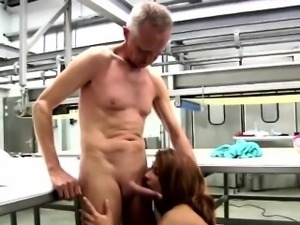Bsuty redhead babe gives her elderly boss an awesome blowjob