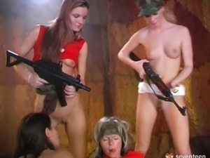 Army girl orgy with lesbians in camouflage and face paint fucking