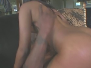 Perfectly shaped Indian actress Destiny Deville riding big black dick on top