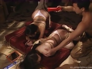 Hardcore rope bondage and humiliation with two Japanese whores
