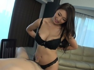 Super busty Japanese milf Reiko Kobayakawa gives rimjob and titjob