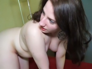 Bootyful brunette girlie gets her pussy stretched in various poses by older dude