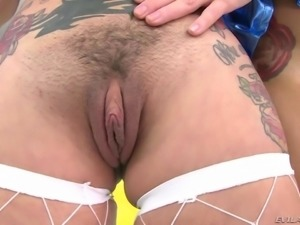 Brunette Megan Rain and blonde Marsha May spread ass cheeks