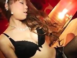 Bodacious Japanese hottie in black lingerie loves to tease