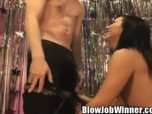 Slim brunette Ashli Orion works her lips and hands on a raging shaft