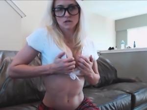 Hot blonde school camgirl in webcam room