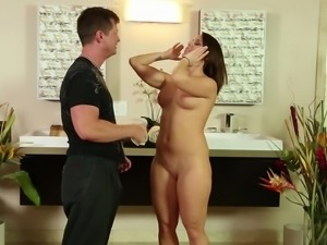 Attractive brunette babe gets fucked hardcore after giving a handjob in the...