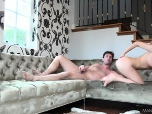 Dazzling blonde girl with lovely boobs indulges in rough anal action